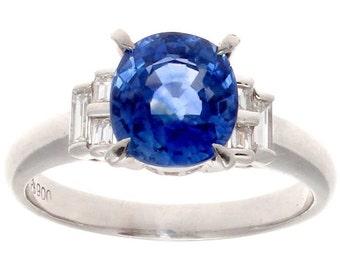 2.80 Carat Sapphire Diamond Platinum Ring
