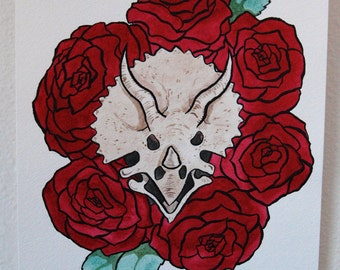 Triceratops with Roses