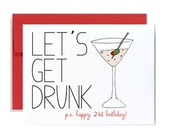 Funny 21st birthday card - red lets get drunk happy bday greeting card drinking party