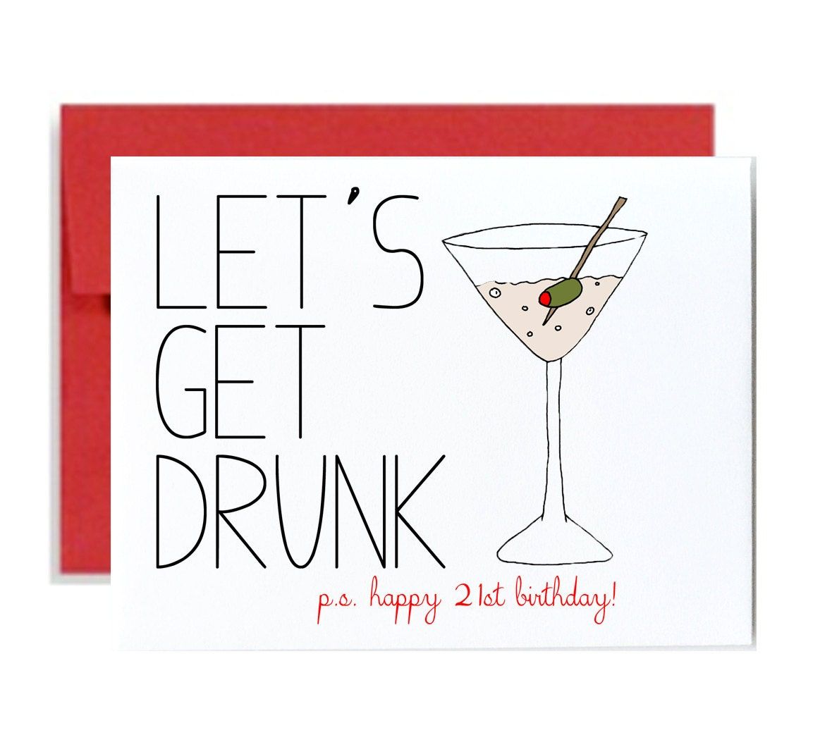 Funny 21st birthday card red lets get drunk happy bday – Funny 21st Birthday Card