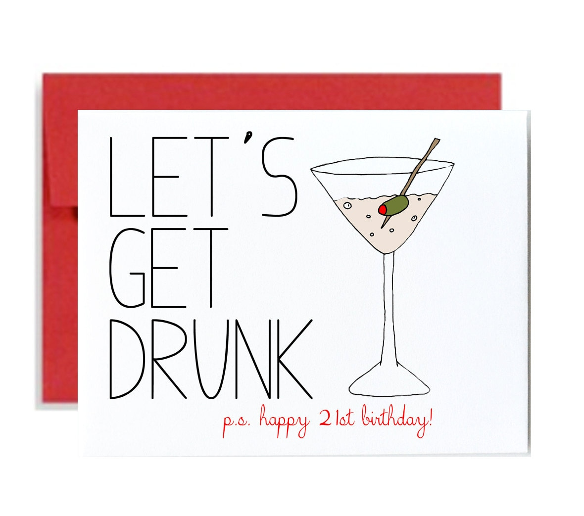 Funny 21st Birthday Cards: Funny 21st Birthday Card Red Lets Get Drunk Happy Bday