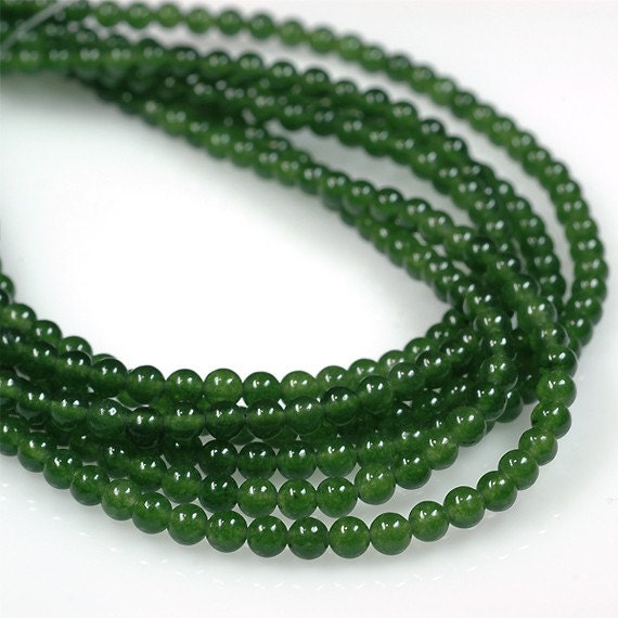 "Genuine Jade Beads: 16"" Strand Of AAA Rated Genuine (Natural) Green Nephrite"