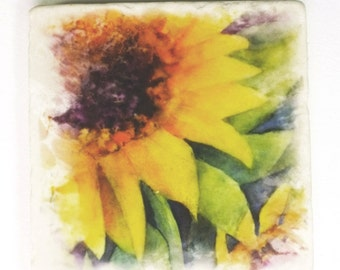 Sunflower Absorbent Tumbled Stone Coaster Original Watercolor