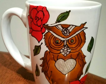 Cup , coffee cup drawing owls, brown owl and red flowers