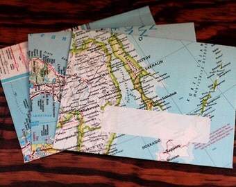 Handmade Map Envelopes - set of 3 -  Mapvelopes - upcycled envelopes