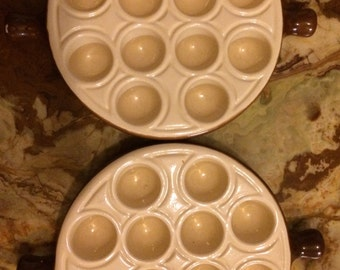 Two EMILE HENRY 12 Hole L'Escargot / ceramic Snail Dish marcigny Feance