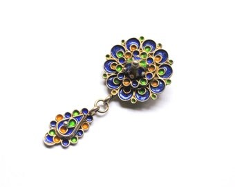 Antique Silver Enamel Brooch