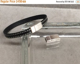 On Sale NOW 25%OFF Tiny Strong Squared Magnetic Clasp For 5mm - 6mm Flat Leather Cord Antique Silver  C848 Qty 1