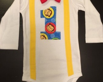 Curious George First Birthday Bowtie Onesie