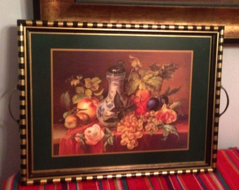"""Hand Painted Black, Gold and Green Serving Tray With A Fruit Scene 12 1/2""""Hx18""""Wx1""""D  T0012"""