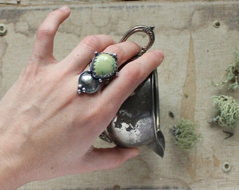 turquoise ring with fossil leaf print ring size 9.25 sterling silver oxidized Nearly Lost Jewelry