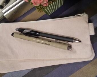 SALE Plain canvas pencil case, fabric bag, sturdy coin purse, zipper pencil case, ykk zipper canvas pouch, plain canvas case