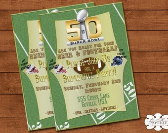 super bowl party invitation, superbowl invite, superbowl invitation, superbowl party digital invitation - Digital File - DIY PRINTABLE