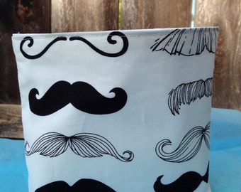 Mustache print snack bag/food safe sandwich bag for boy/my stash