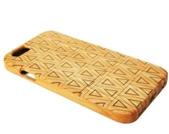 WOODEN PHONE CASE Triangles design laser etched bamboo (wooden iPhone 6 case, wooden iPhone 6s case)