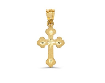 14k solid gold cross pendant. religious jewelry. cross pendant.