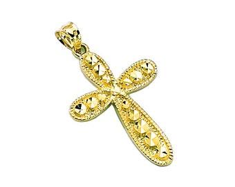 14k yellow gold diamond cut cross pendant.