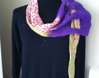 Silk and wool felted swag scarf