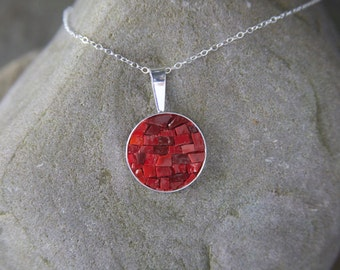 Mosaic Necklace: Holiday Red