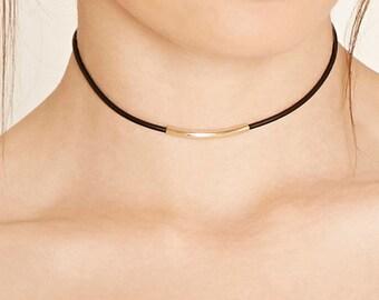 Gold Bar Leather Cord Choker