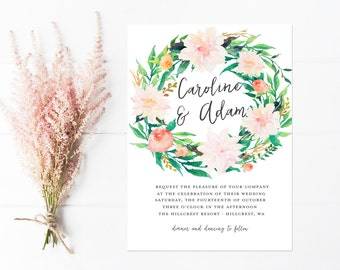 Wedding Invitation, Flower Wreath Invitations, Boho Invitations in Pink and Peach