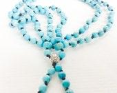 Turquoise Mala 108 Mala Beads Meditation Prayer Beads Turquoise Necklace Yoga Jewelry Turquoise Beaded Necklace Boho Jewelry Long Necklace