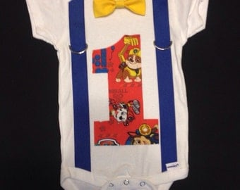 Paw Patrol First Birthday Outfit (bow tie and suspenders)