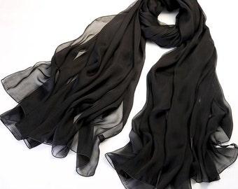 Black Chiffon Scarf - Elegant Black Chiffon Scarf