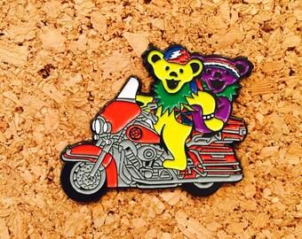 Grateful dead bears on a bike hat pin