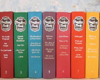 Vintage Reader's Digest Best Loved Books for Young Readers book set, rainbow, teen room classics stories shabby chic wedding