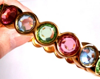 Swarovski Hinged Cuff Bracelet Gold Plated with Multi-Colored Crystals Swan Logo 42 gr