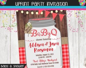 Baby Q Invitation - BBQ Baby Shower Invitation - Rustic Wood Mason Jar - Baby Shower