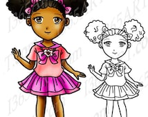 50% OFF SALE African American girl clipart, black girl, Afro Puffs, Digital Stamp, clip art, Coloring Page, Manga, Cute School Girl, Anime C
