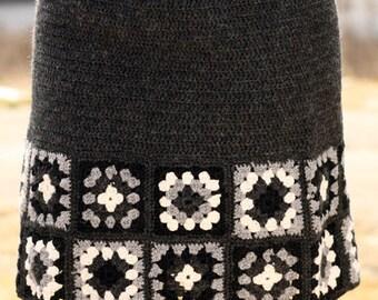 Crocheted granny squares short skirt. Crocheted woman clothing. Winter skirt in wool. Trend winter  2016. Handmade.