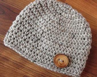 Crocheted Baby Boy Hat with Wooden Button, Crocheted Baby Beanie - Gray Tweed with Wooden Button - Newborn to 5T - MADE TO ORDER