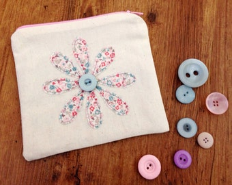 Little pink floral coin purse