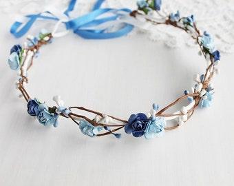 Something Blue Crown, Rustic Chic Halo, Beach Hair Crown, Woodland Halo, Boho Crown, Flower Girl Wreath, Blue Rose Crown, Blue Girls Crown
