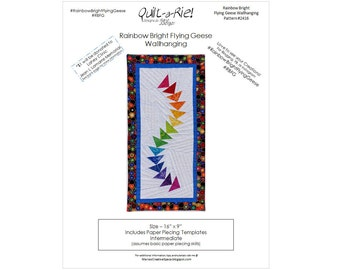 Rainbow Bright Flying Geese Wall Hanging PDF Pattern