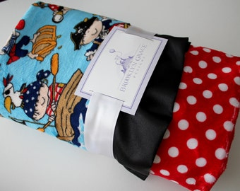 Kids Ahoy Pirate Print with Blue Background and Red and White Polka Dot with Black Satin Trim - Pirate Hat, Ship, Water, Nautical