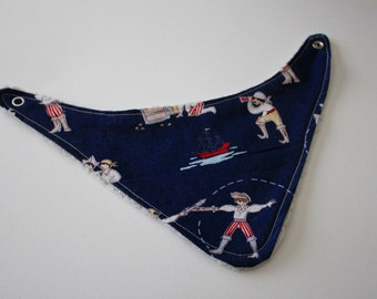 Navy Blue Pirate Cotton Print with Soft Gray Chenille Bandana Bib with Snap Closure - Baby, Shower Gift, Nautical, Red, Baby Blue, Ships