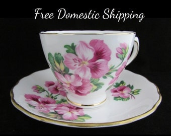 Royal Vale Teacup, English Tea Cup, England Bone China, Vintage Teacup Saucer,  Floral Tea Cup, Pink Pansy Tea Cup, Free US Shipping,