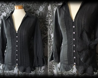 Gothic Black Embroidery Detail MOURNING Fitted Blouse 14 16 Victorian Vintage