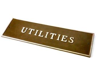 """Vintage Metal """"Utilities"""" Sign"""