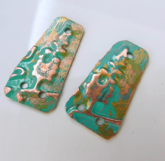 Handcut Trapezoid Copper Embossed Metapolies™ handmade components in turquoise  HM16-009E