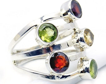 Citrine, Peridot, Garnet Ring & .925 Sterling Silver Ring Size 6.25 ; W506 , Jewelry