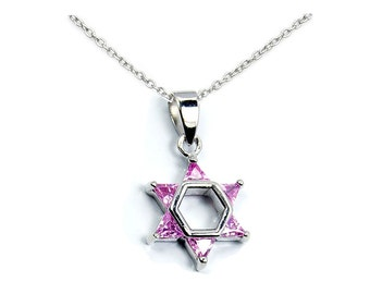 Jewish Star of David Pink CZ & .925 Sterling Silver Pendant Necklace, T223X16