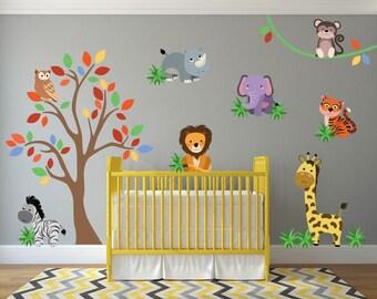 Jungle Wall Decal, Jungle Nursery Decor, Safari Wall Decals, Safari Nursery, Jungle Theme Decor, Safari Theme Nursery
