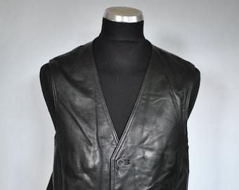 Vintage LEATHER VEST , men's leather vest ....(022)