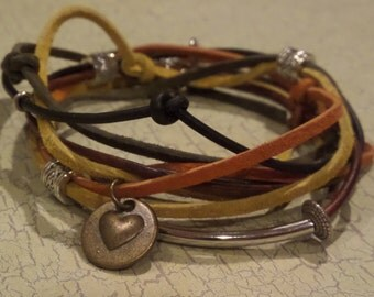 Neutral Leather and Suede Wrap Bracelet with Metal Accents