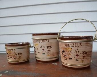 Vintage Snack Set Trio * ceramic * mustache * men * sweet Adeline * pretzels * potato chips * nuts * handles * sweet adeline * nasco